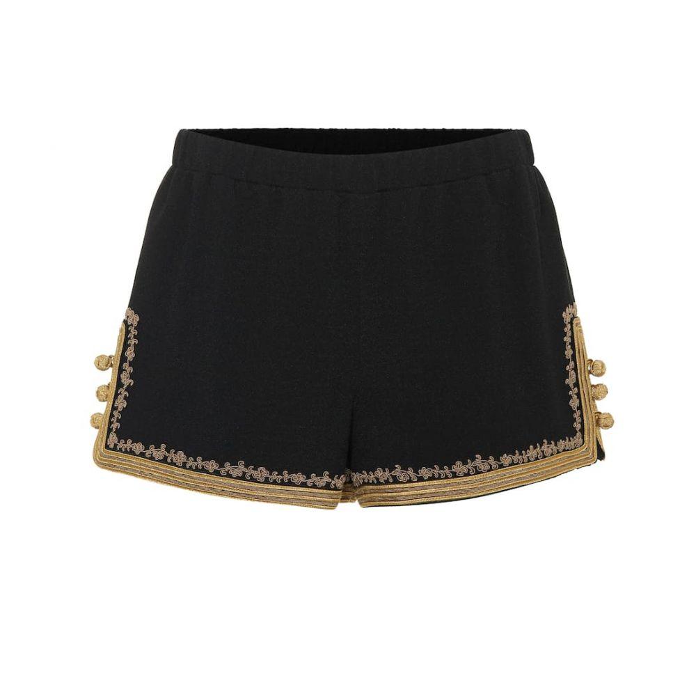 イヴ サンローラン Saint Laurent レディース ショートパンツ ボトムス・パンツ【Embellished crepe shorts】Noir