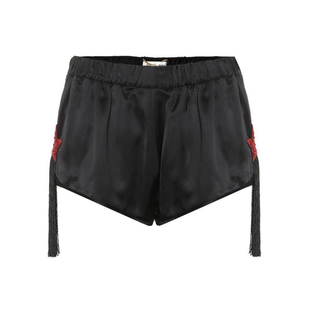 イヴ サンローラン Saint Laurent レディース ショートパンツ ボトムス・パンツ【Embellished satin shorts】Noir