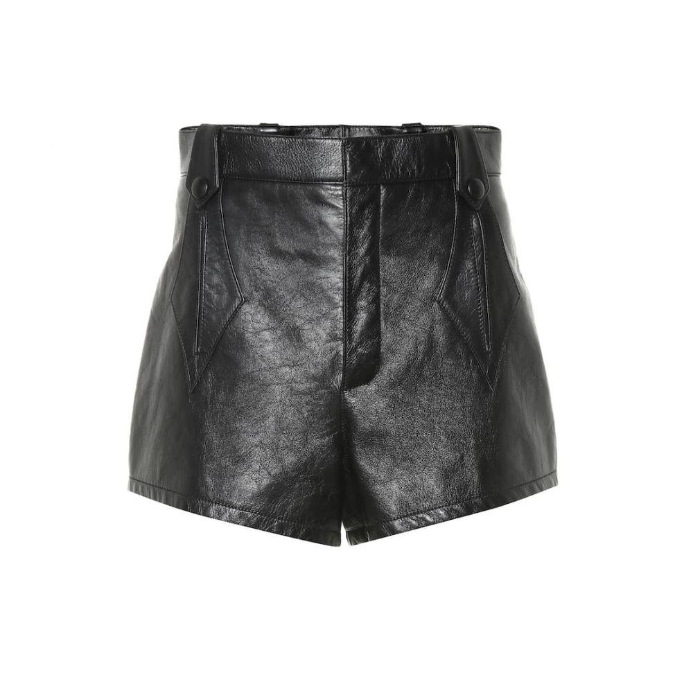 イヴ サンローラン Saint Laurent レディース ショートパンツ ボトムス・パンツ【High-waisted leather shorts】Noir/Noir