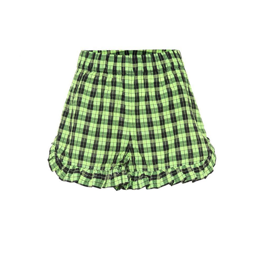 ガニー Ganni レディース ショートパンツ ボトムス・パンツ【Checked cotton-blend shorts】Neon Maize