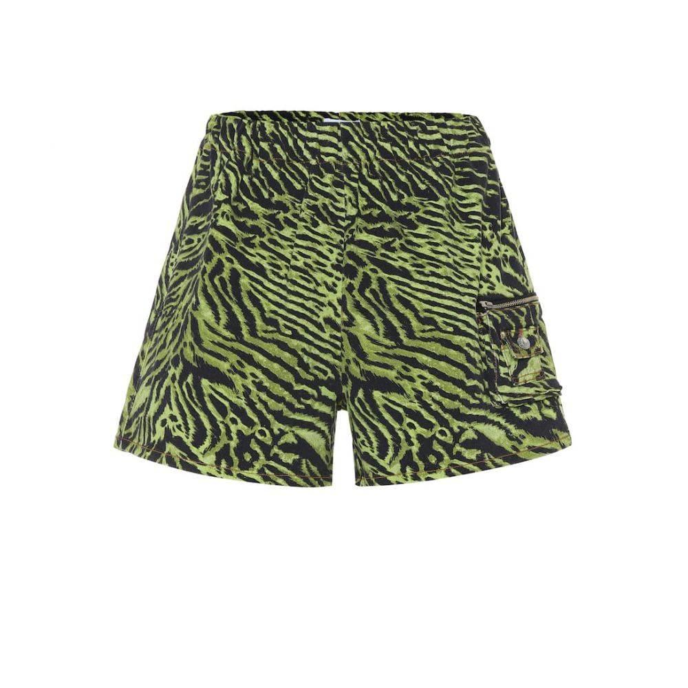 ガニー Ganni レディース ショートパンツ ボトムス・パンツ【Tiger-print stretch-cotton shorts】Lime Tiger