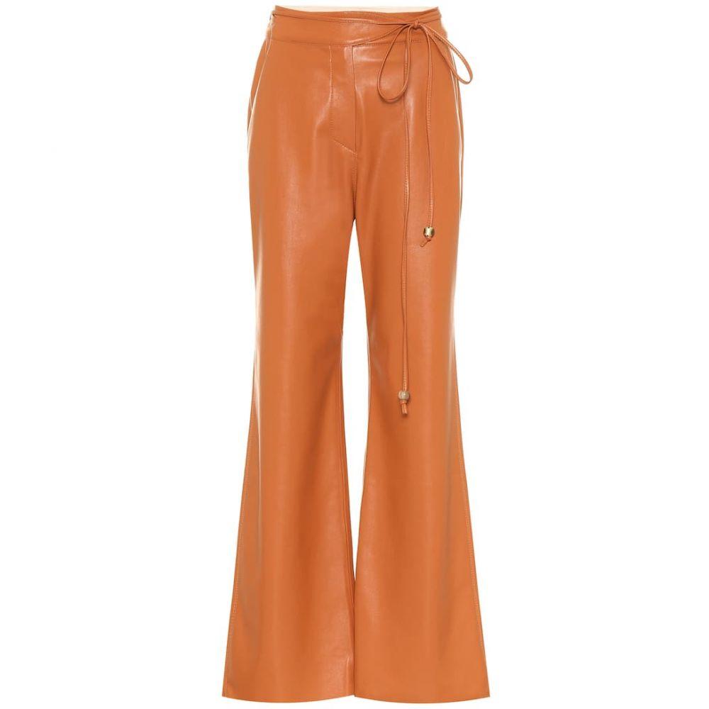 ナヌシュカ Nanushka レディース ボトムス・パンツ レザーパンツ【Chimo faux leather wide-leg pants】Burnt Orange