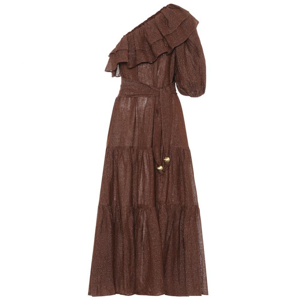リサ マリー フェルナンデス Lisa Marie Fernandez レディース ワンピース ワンピース・ドレス【Arden metallic linen-blend dress】Choco Metal