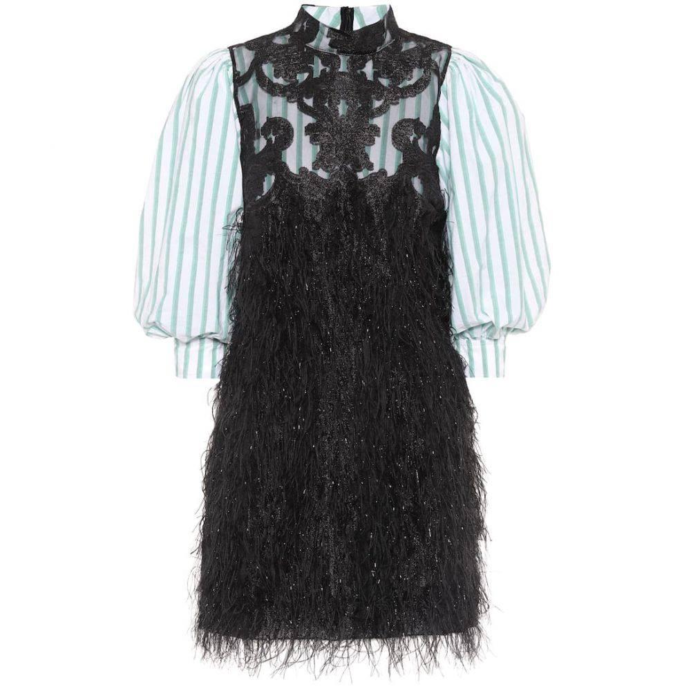 ガニー Ganni レディース ワンピース ワンピース・ドレス【Faux feather and lace minidress】Black
