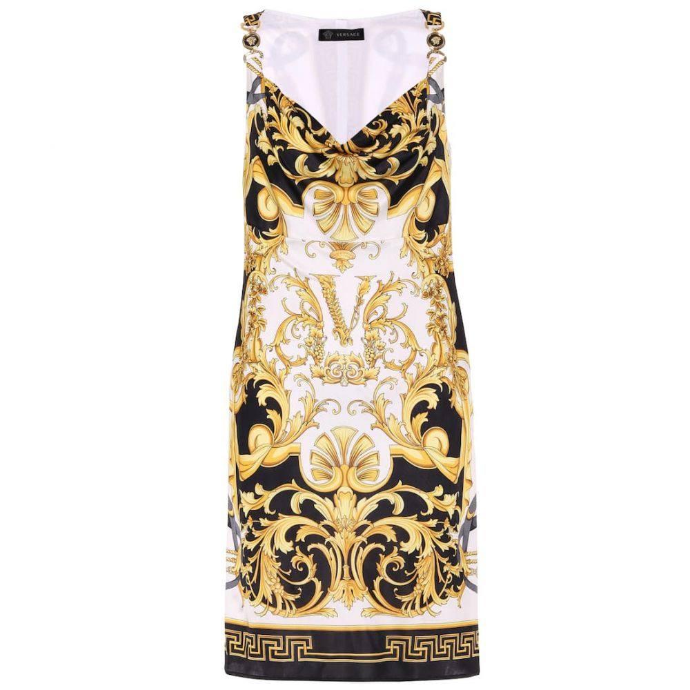 ヴェルサーチ Versace レディース ワンピース ワンピース・ドレス【V Barocco satin dress】F. Do Bianco/Stampa
