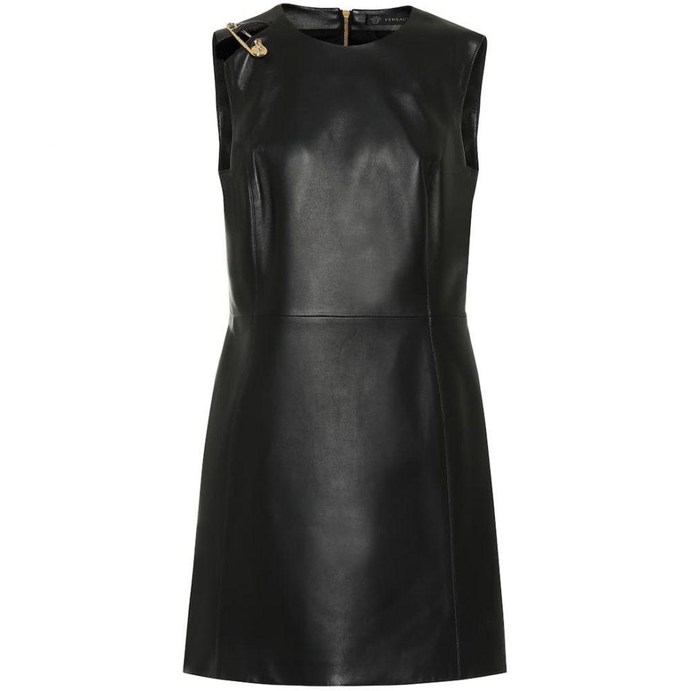 ヴェルサーチ Versace レディース ワンピース ワンピース・ドレス【Leather minidress】Nero