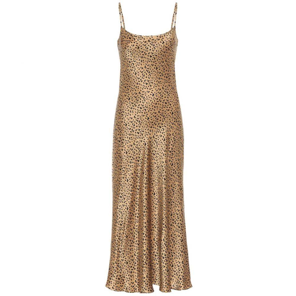 リキソ Rixo レディース ワンピース ミドル丈 ワンピース・ドレス【Holly leopard-print silk midi dress】Gold Black
