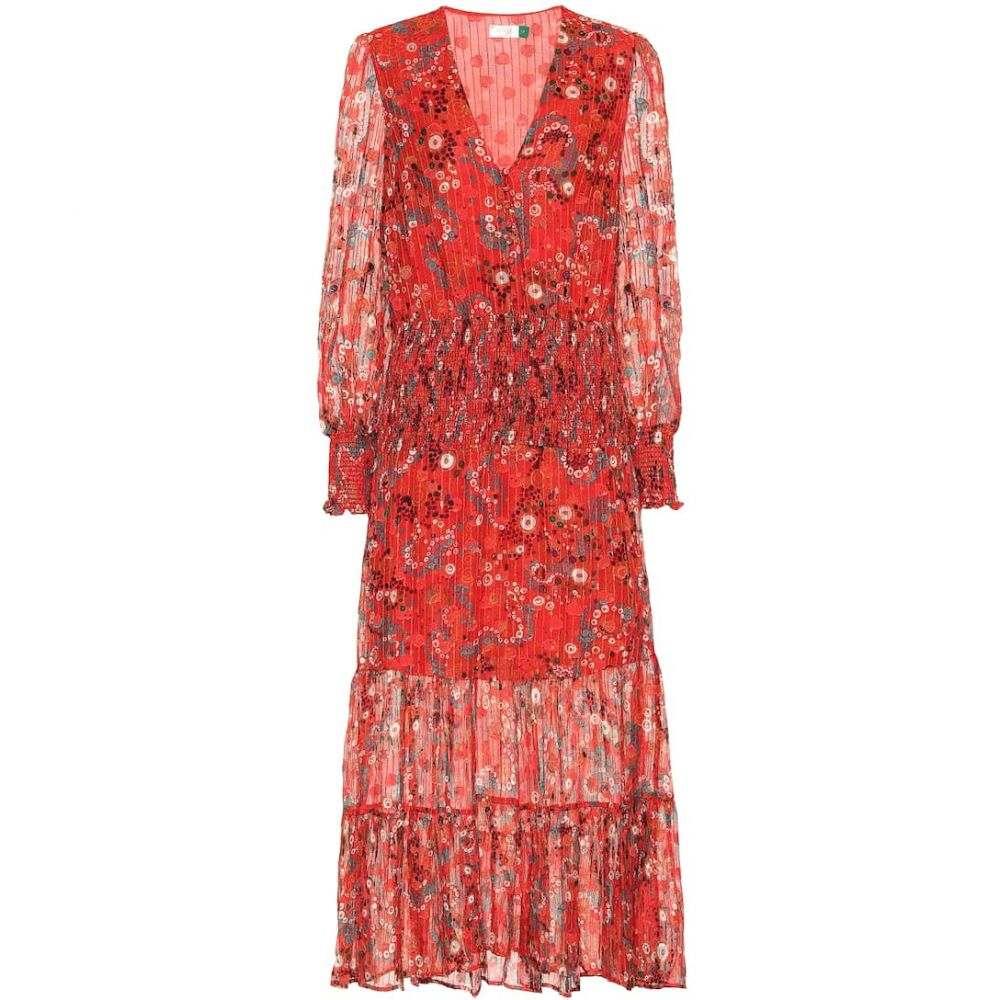 リキソ Rixo レディース ワンピース ミドル丈 ワンピース・ドレス【Maya printed silk-blend midi dress】Red Teal