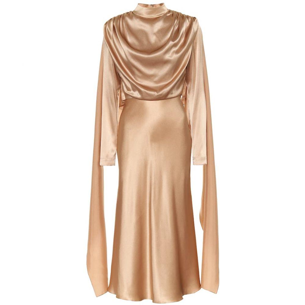 マテリエルティビリシ Materiel Tbilisi レディース パーティードレス ミドル丈 ワンピース・ドレス【Silk-satin midi dress】Sand