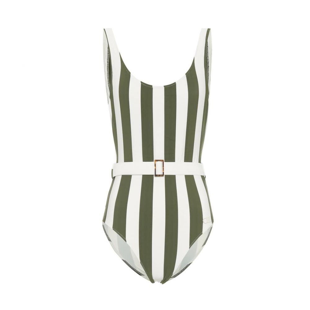 ソリッド&ストライプ Solid & Striped レディース ワンピース 水着・ビーチウェア【The Anne-Marie belted swimsuit】Safari Stripe (Olive)