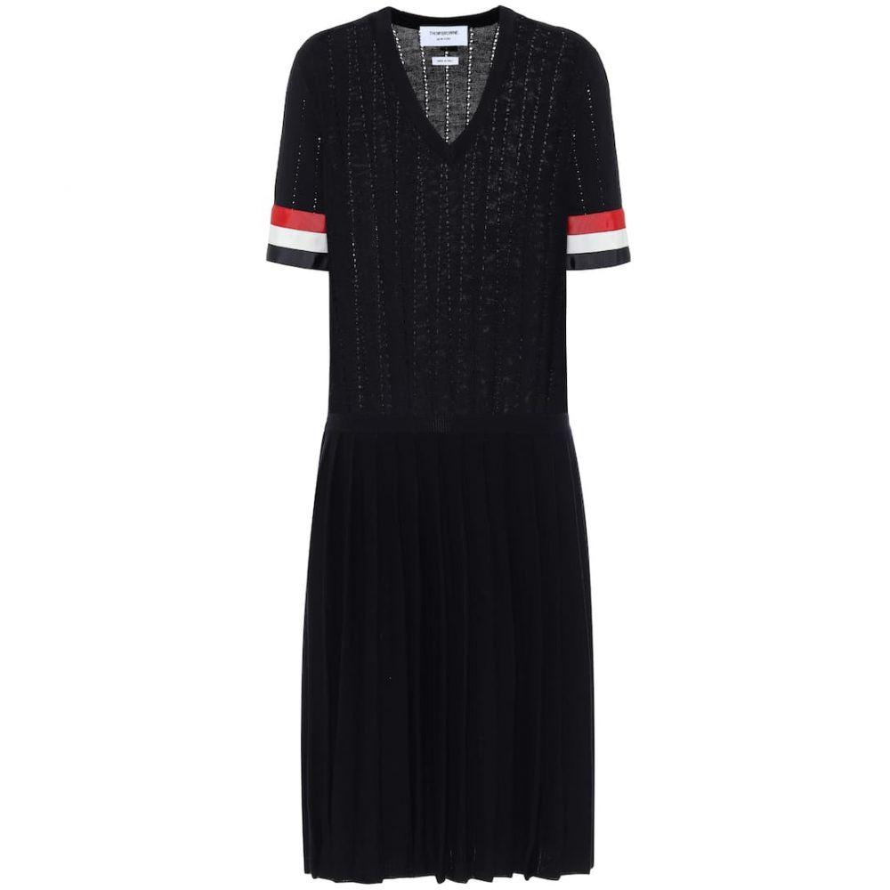 トム ブラウン Thom Browne レディース ワンピース ミドル丈 ワンピース・ドレス【Wool midi dress】Navy