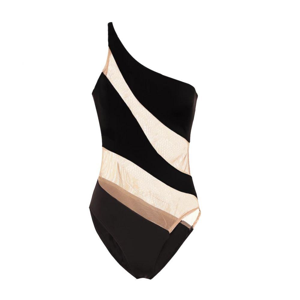 ノーマ カマリ Norma Kamali レディース ワンピース 水着・ビーチウェア【Snake mesh swimsuit】Black