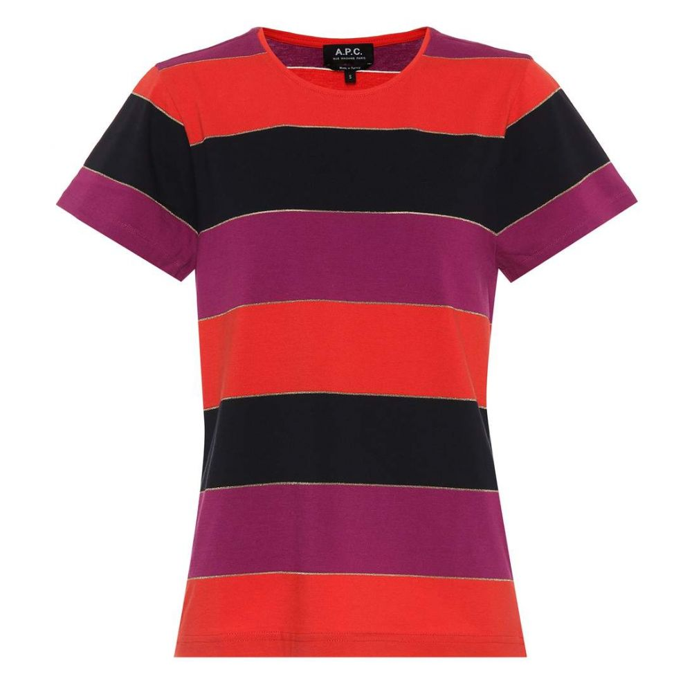 アーペーセー A P Cレディース Tシャツ トップス Millbrook striped jersey T shirt Fuchsia8m0wvNn