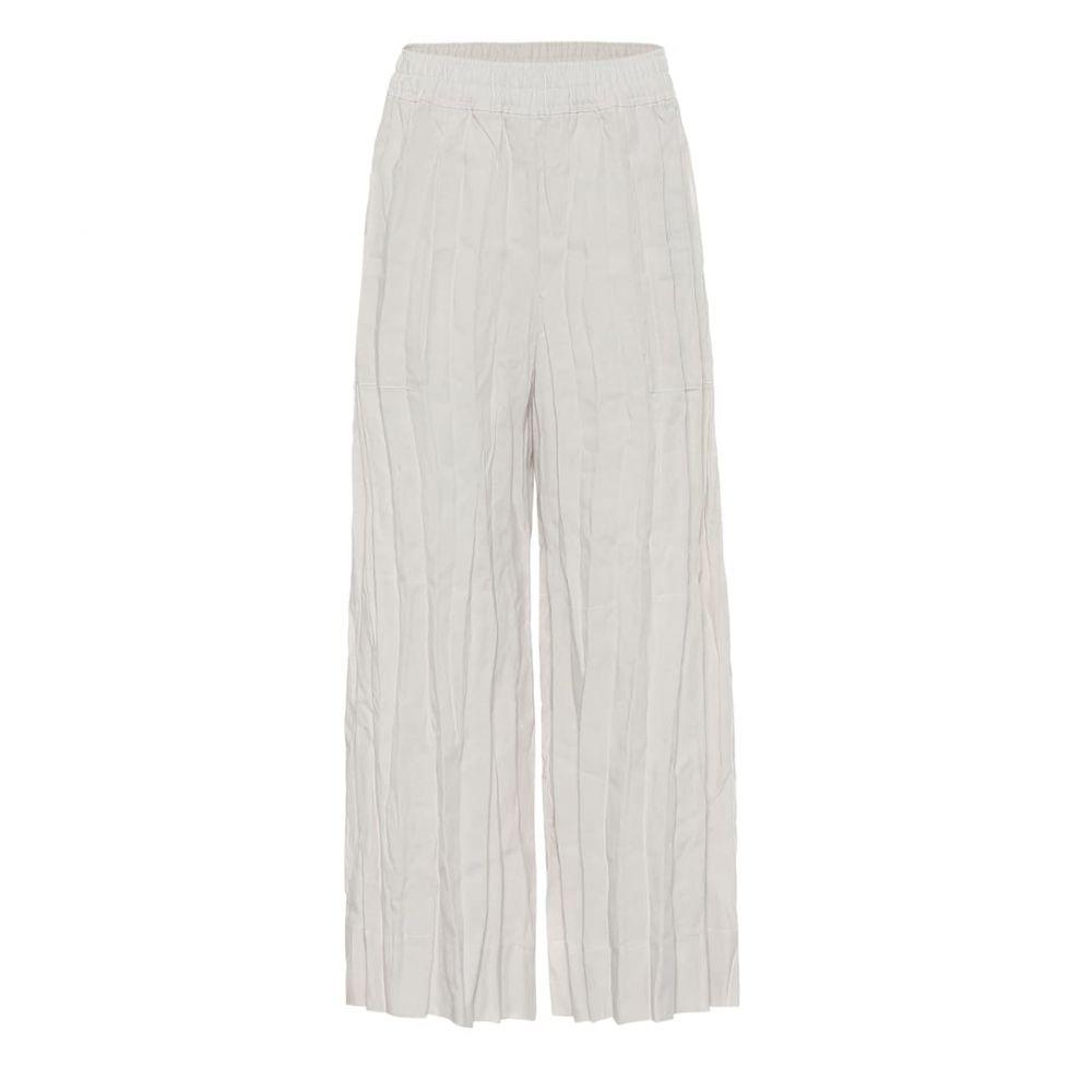 アクネ ストゥディオズ Acne Studios レディース ボトムス・パンツ 【High-rise wide-leg linen pants】White Melange