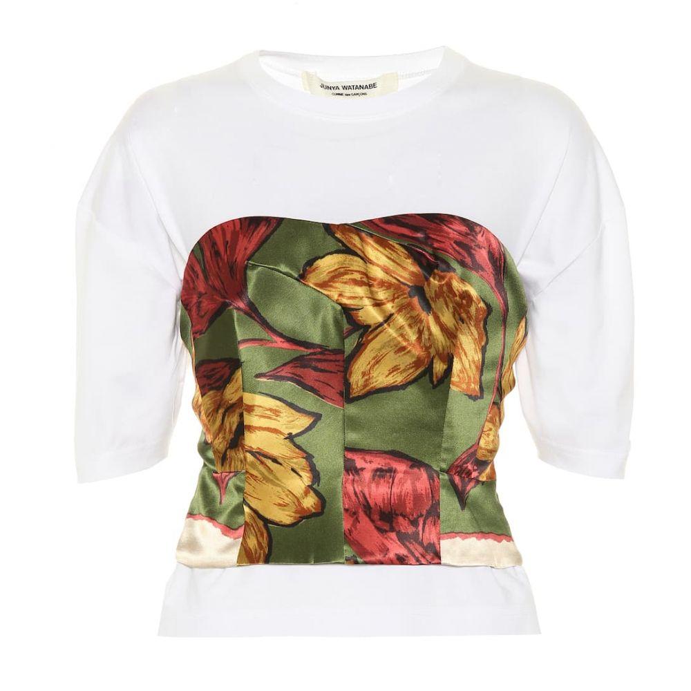 ジュンヤ ワタナベ Junya Watanabe レディース ベアトップ・チューブトップ・クロップド ビスチェ トップス【Silk bustier cotton T-shirt】White x Khaki