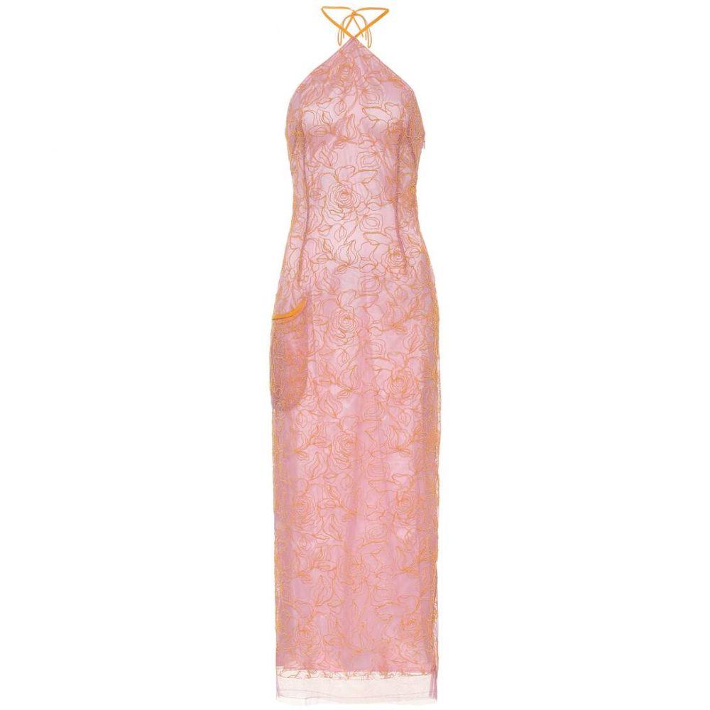 ジャックムス Jacquemus レディース ワンピース ワンピース・ドレス【La Robe Lavandou embroidered dress】Pink Orange
