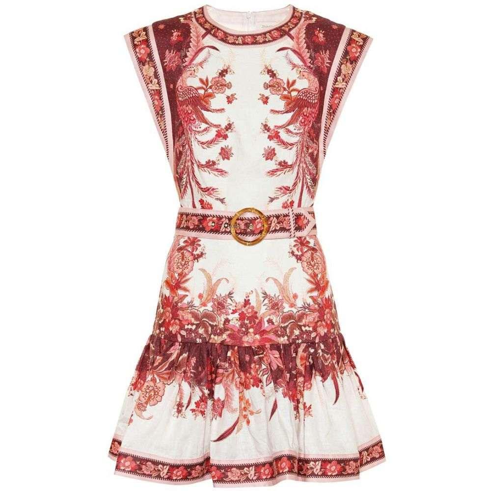 ジマーマン Zimmermann レディース ワンピース ワンピース・ドレス【Wavelength printed linen minidress】Red Phoenix