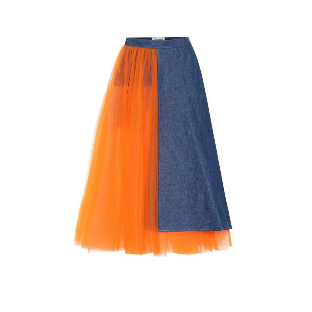 ジュンヤ ワタナベ Junya Watanabe レディース ロング・マキシ丈スカート デニム スカート【Tulle and denim skirt】Indigo x Neon Orange