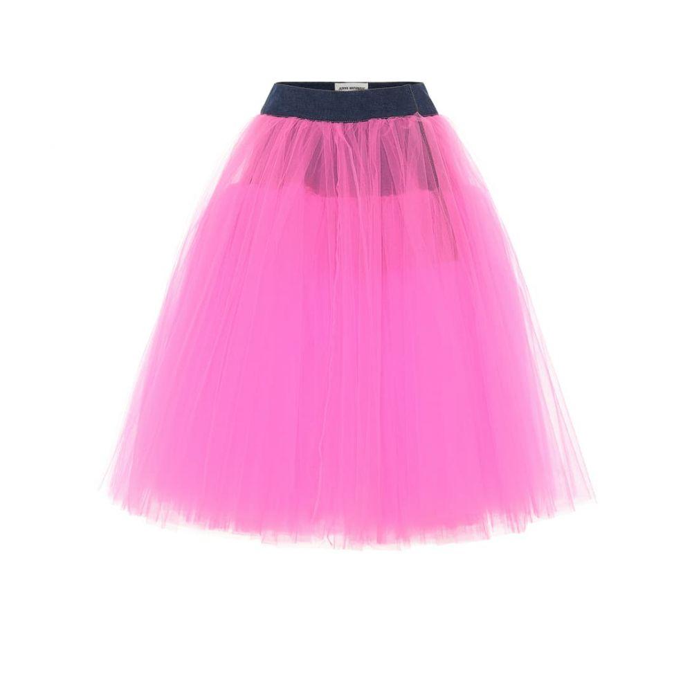 ジュンヤ ワタナベ Junya Watanabe レディース ひざ丈スカート デニム スカート【Tulle and denim skirt】Indigo x Neon Pink