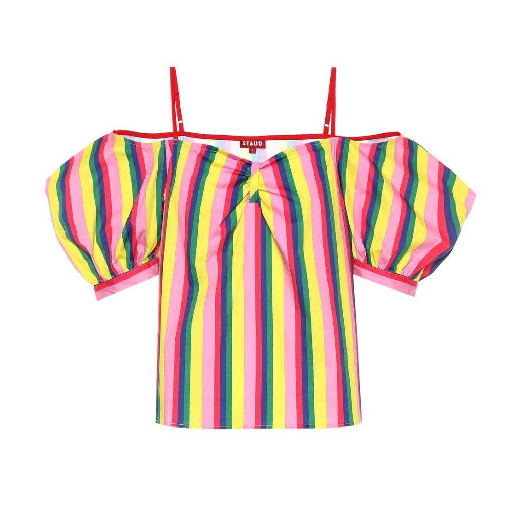 スタウド Staud レディース トップス 【Ruby striped stretch cotton top】Pink Stripe