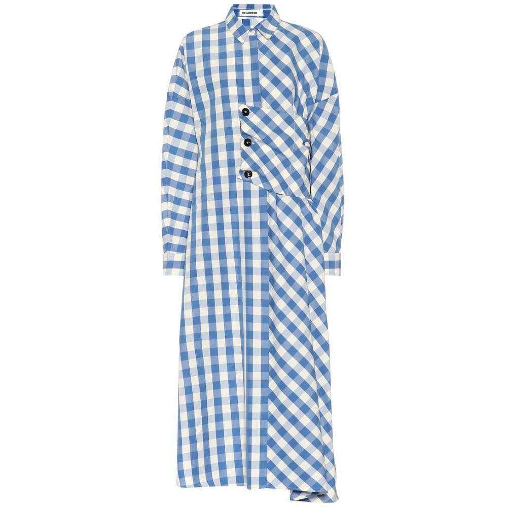 ジル サンダー Jil Sander レディース ワンピース ミドル丈 ワンピース・ドレス【Checked cotton midi dress】Open Blue