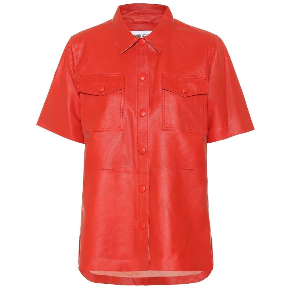 スタンドスタジオ Stand Studio レディース ブラウス・シャツ トップス【Danna leather shirt】Ruby Red