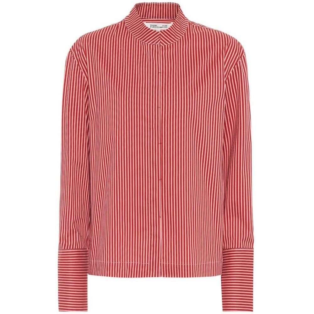 ダイアン フォン ファステンバーグ Diane von Furstenberg レディース ブラウス・シャツ トップス【Striped cotton-blend shirt】Emory Stripe Bordeaux