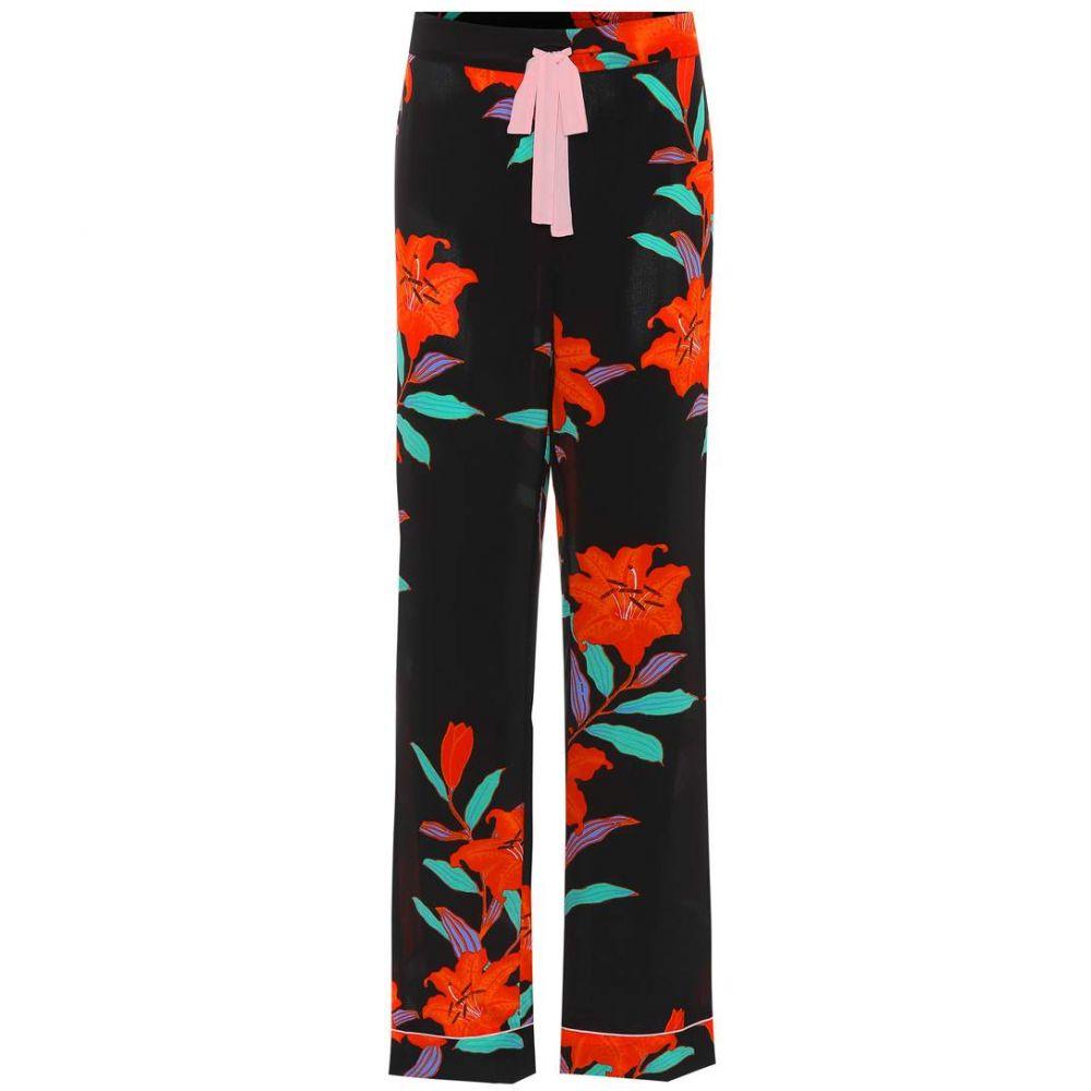 ダイアン フォン ファステンバーグ Diane von Furstenberg レディース ボトムス・パンツ 【Floral-printed wide-leg silk pants】Argos Black
