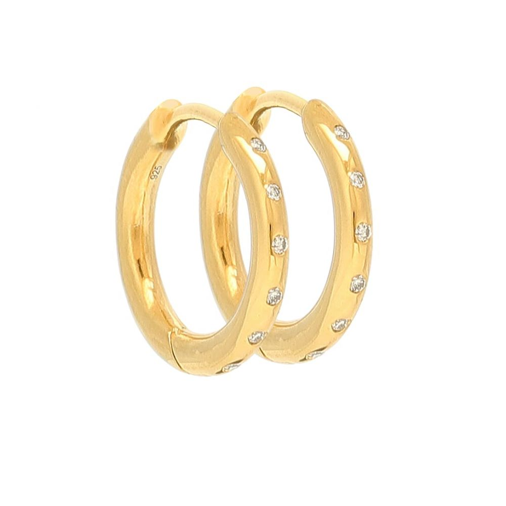 セオドラウェア THEODORA WARRE レディース イヤリング・ピアス ジュエリー・アクセサリー【Diamond Flush gold-plated hoop earrings】