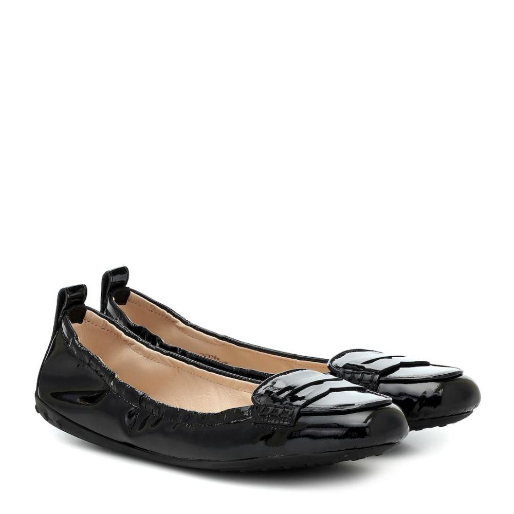 トッズ Tod's レディース スリッポン・フラット シューズ・靴【Patent-leather flats】Nero