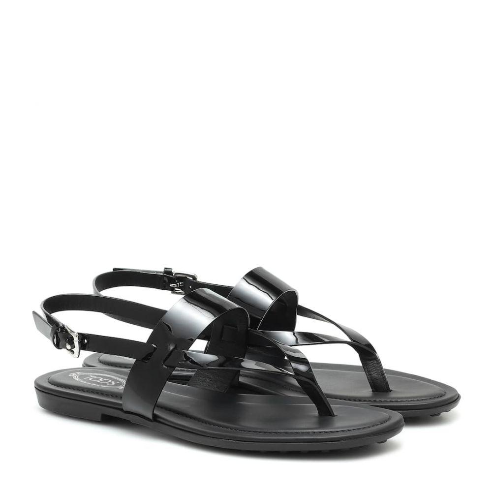 トッズ Tod's レディース サンダル・ミュール シューズ・靴【Patent leather sandals】Nero