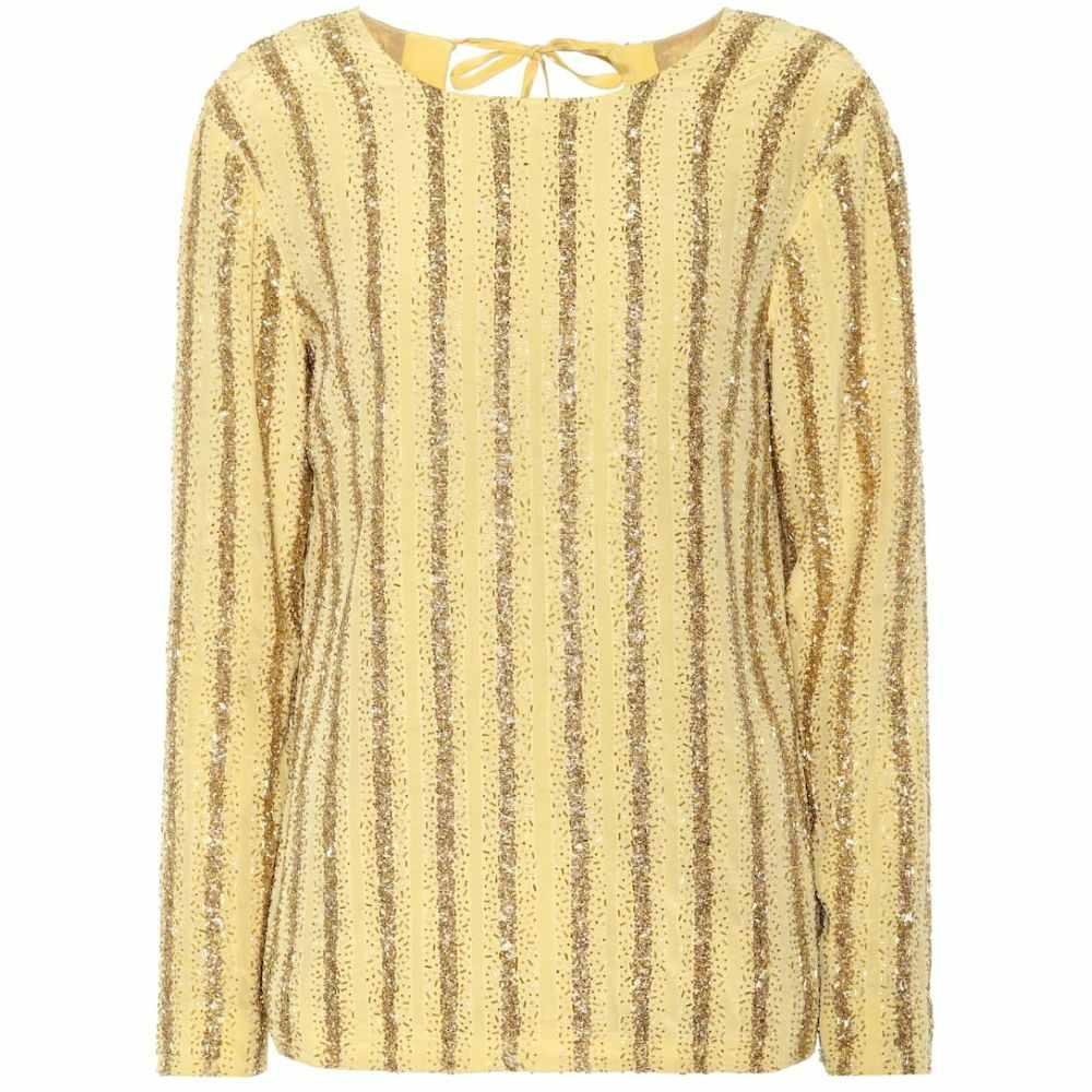 ドリス ヴァン ノッテン Dries Van Noten レディース トップス 【Beaded stripe silk top】Mustard