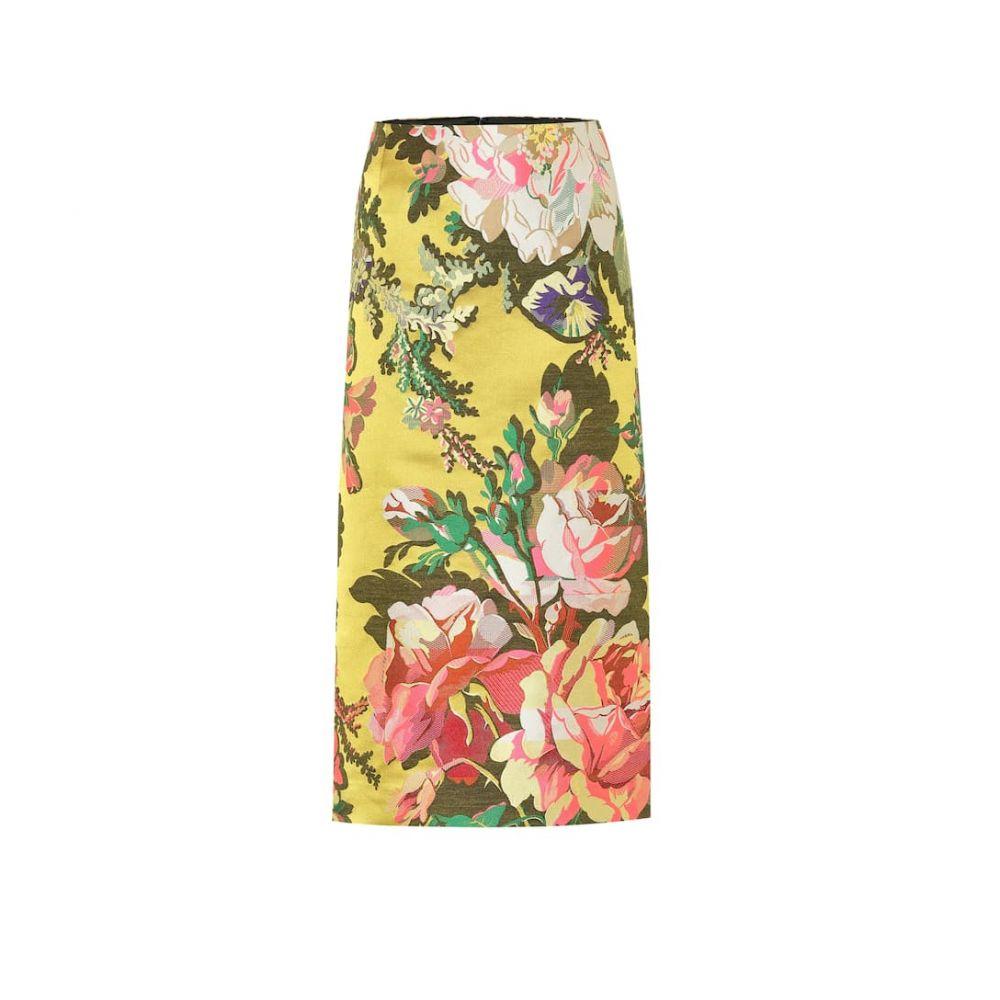 ドリス ヴァン ノッテン Dries Van Noten レディース ひざ丈スカート スカート【Floral jacquard midi skirt】Yellow