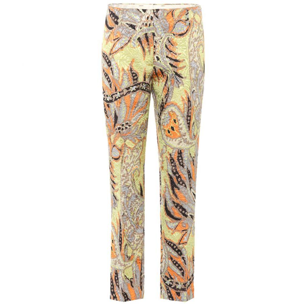 ドリス ヴァン ノッテン Dries Van Noten レディース クロップド ボトムス・パンツ【Floral jacquard cropped trousers】Yellow