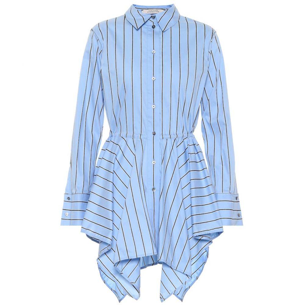 ドロシー シューマッハ Dorothee Schumacher レディース ブラウス・シャツ トップス【Striped stretch cotton-blend shirt】Black & White Stripes on Blue