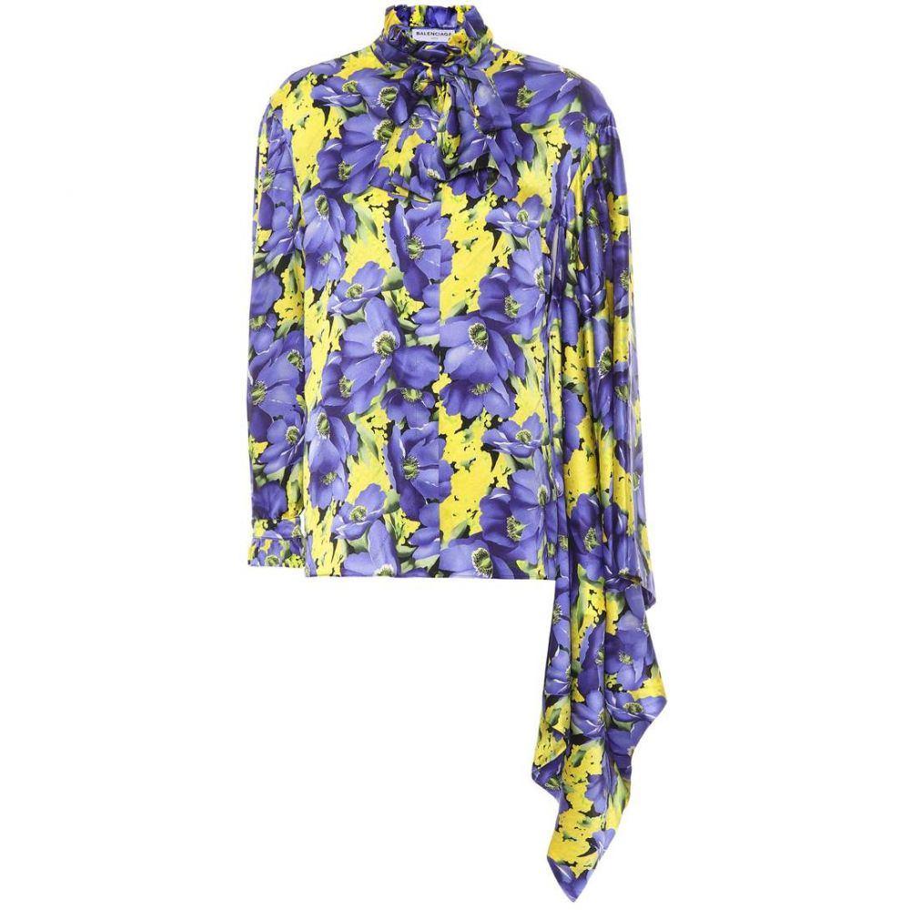 バレンシアガ Balenciaga レディース ブラウス・シャツ トップス【Printed silk satin blouse】Jaune/Violet