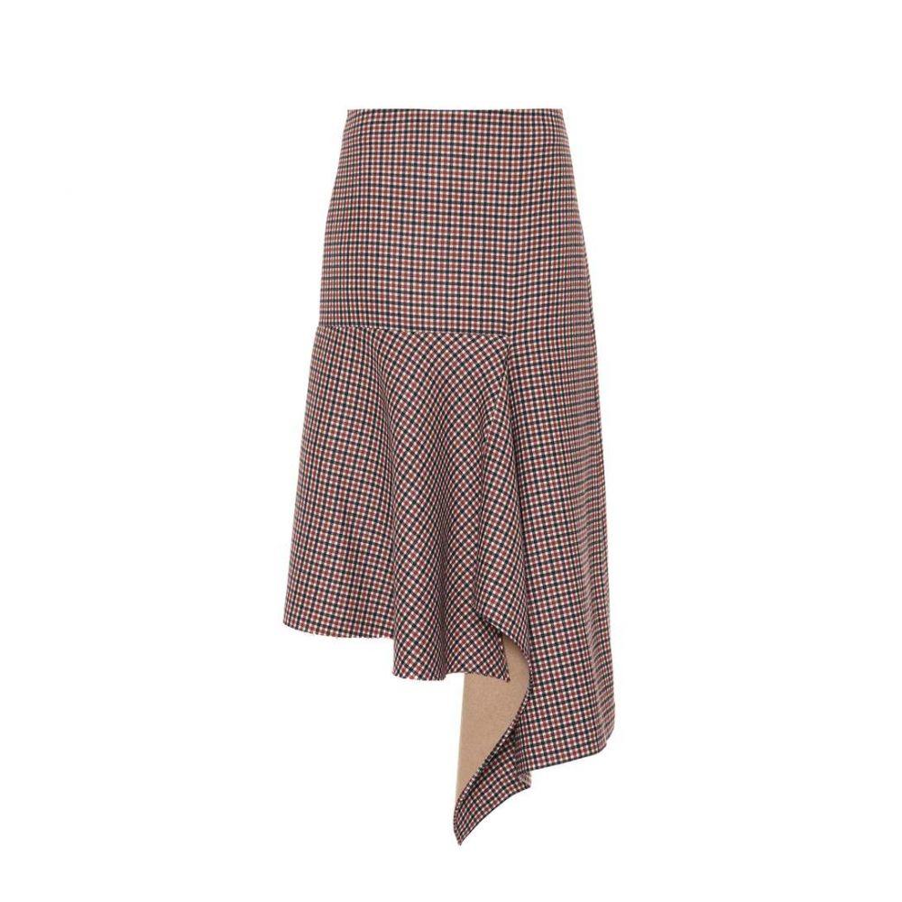 バレンシアガ Balenciaga レディース ひざ丈スカート スカート【Checked wool midi skirt】Brown/Navy