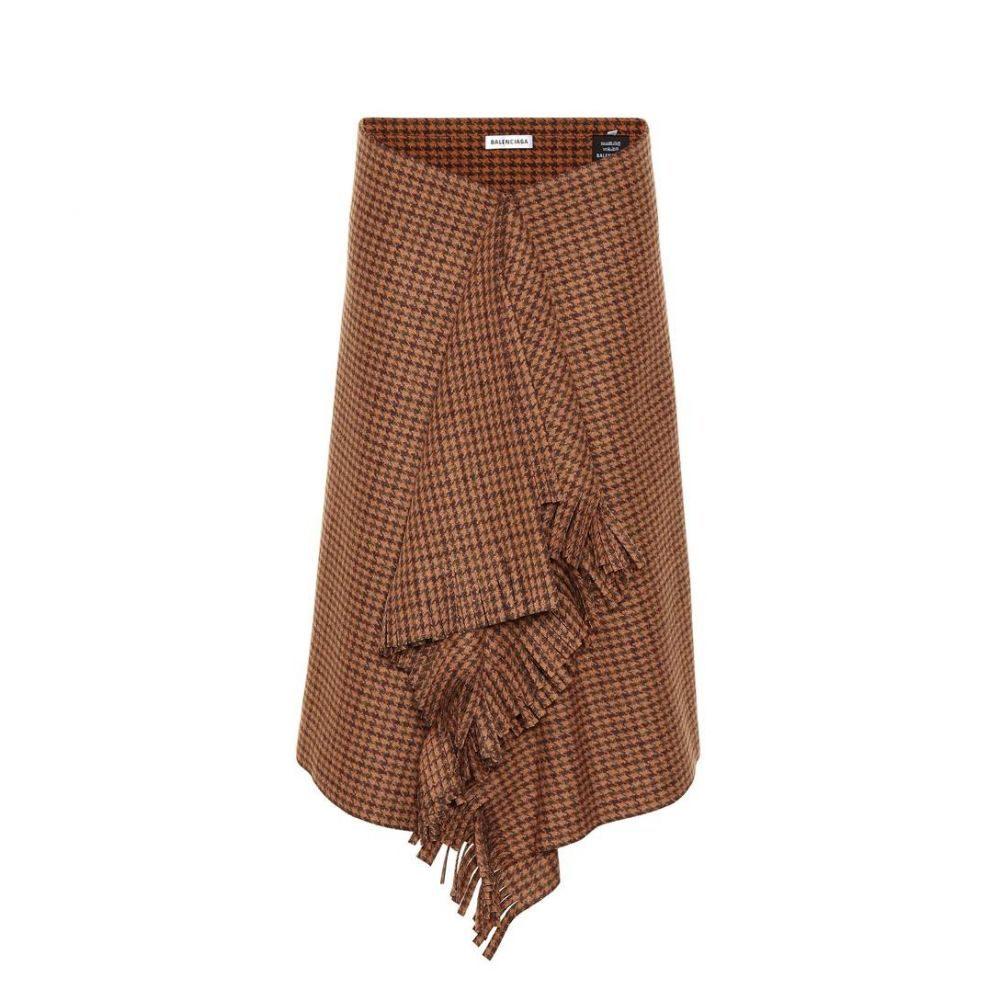 バレンシアガ Balenciaga レディース スカート 【Houndstooth wool-blend skirt】Brown