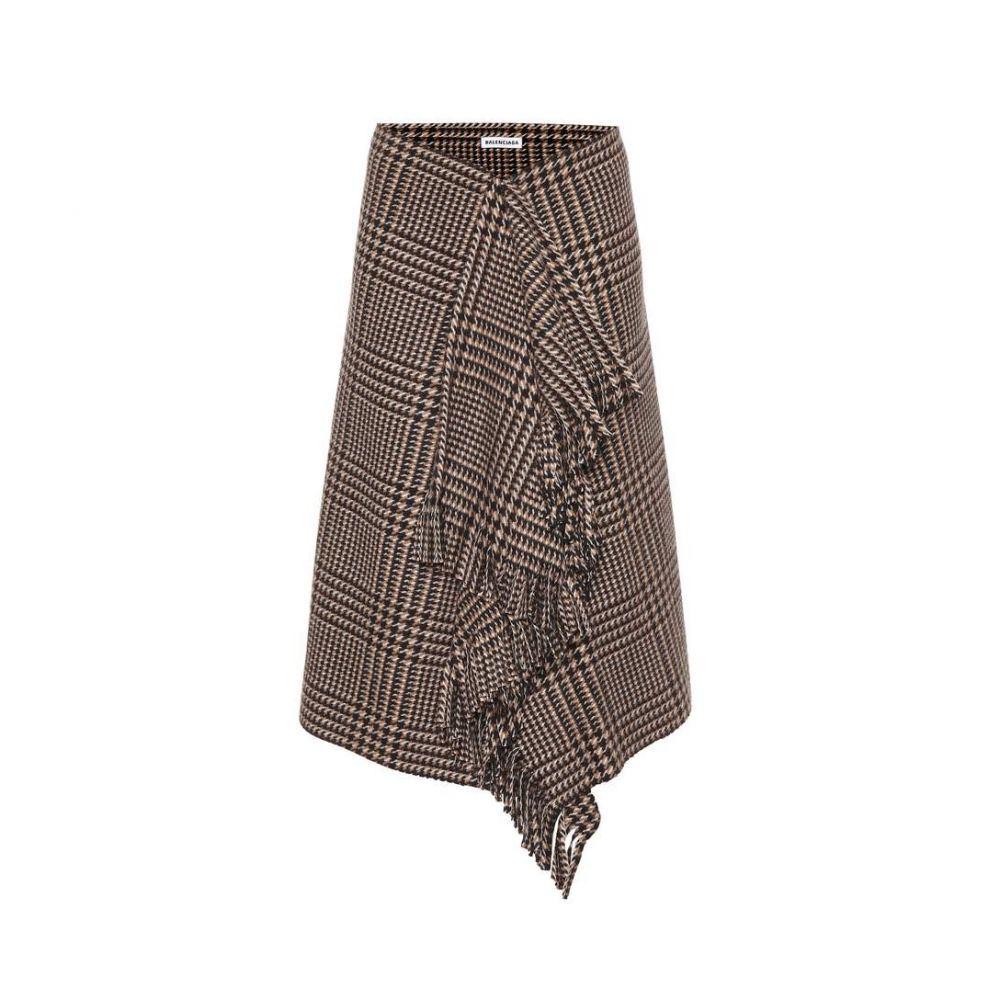 バレンシアガ Balenciaga レディース スカート 【Checked wool skirt】Camel/Brown