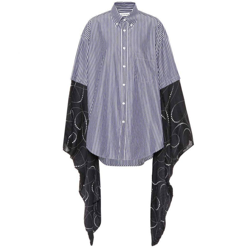 バレンシアガ Balenciaga レディース ブラウス・シャツ トップス【Kimono-sleeve cotton shirt】Navy/White