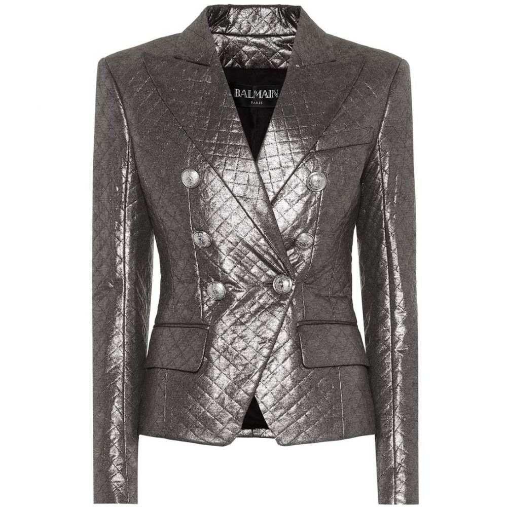 バルマン Balmain レディース スーツ・ジャケット アウター【Quilted metallic blazer】argent fonce