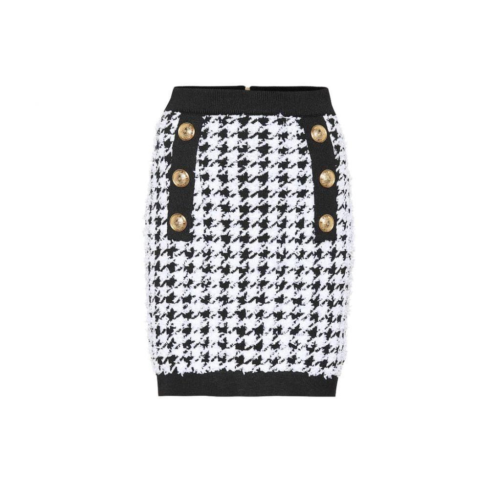 バルマン Balmain レディース ミニスカート スカート【Houndstooth tweed miniskirt】Noir/Blanc
