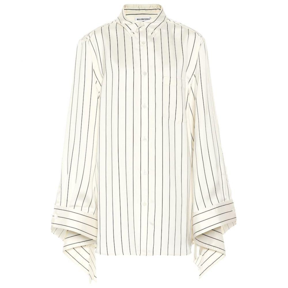 バレンシアガ Balenciaga レディース ブラウス・シャツ トップス【Striped silk shirt】Ivory Navy