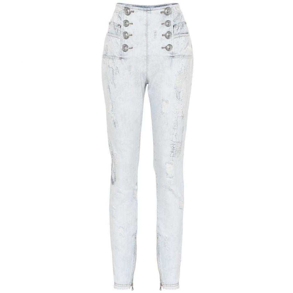 バルマン Balmain レディース ジーンズ・デニム ボトムス・パンツ【High-rise skinny jeans】GAE Blanc/Bleu