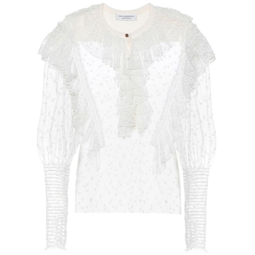フィロソフィ ディ ロレンツォ セラフィニ Philosophy Di Lorenzo Serafini レディース ブラウス・シャツ トップス【Cotton-blend lace blouse】White
