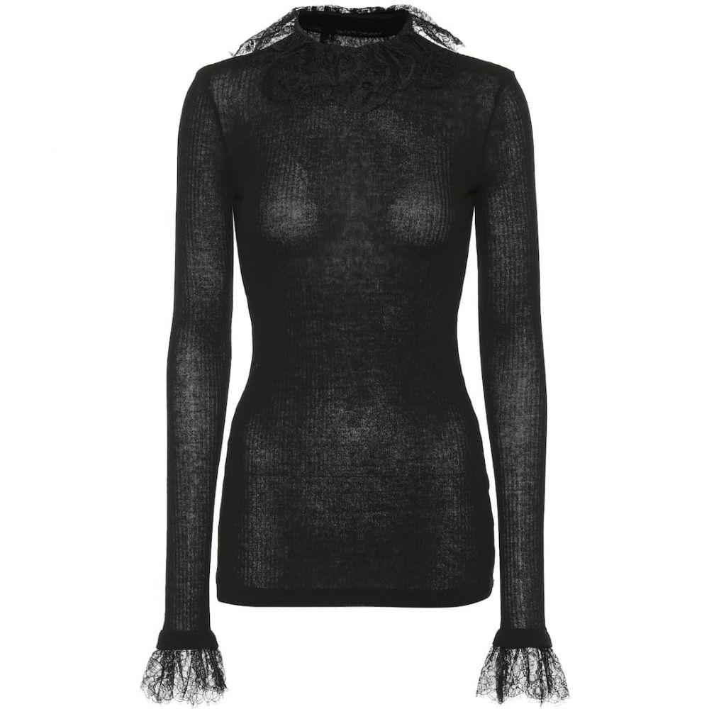 フィロソフィ ディ ロレンツォ セラフィニ Philosophy Di Lorenzo Serafini レディース ニット・セーター トップス【Lace-trimmed wool-blend sweater】Black