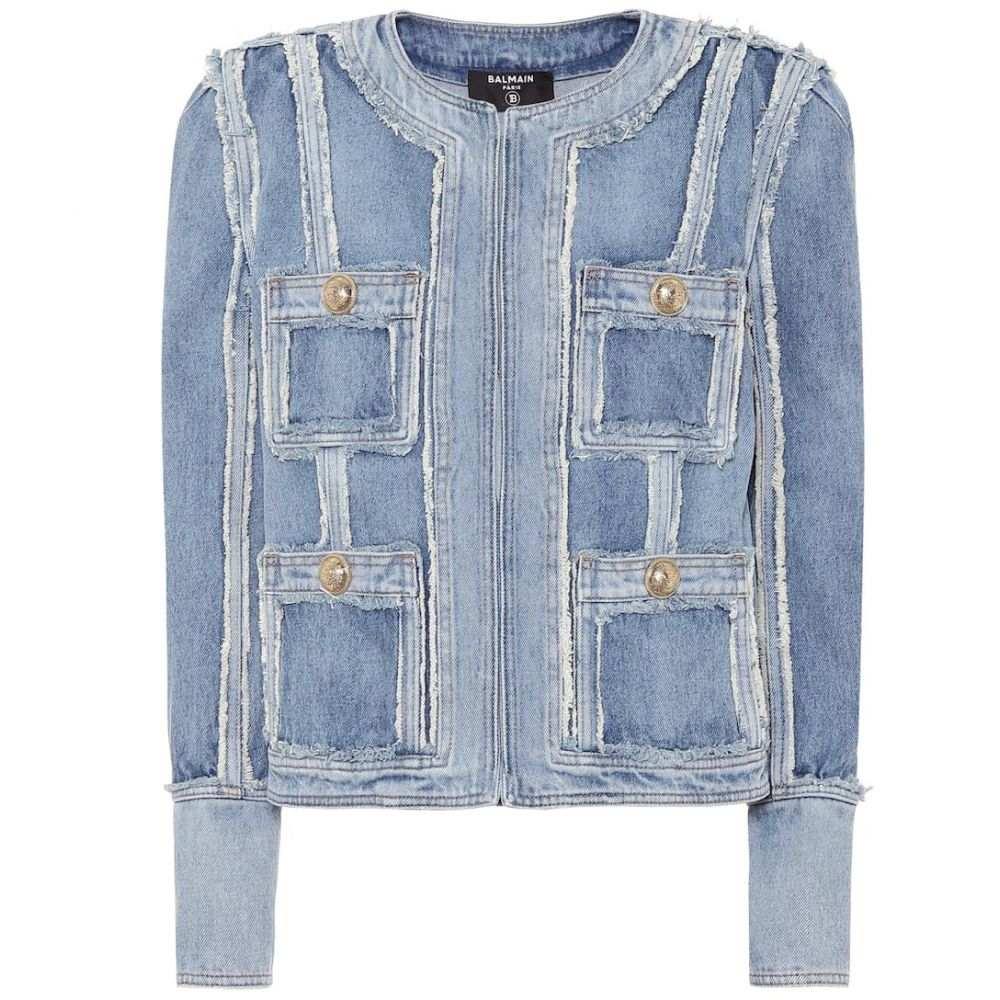 バルマン Balmain レディース ジャケット Gジャン アウター【Frayed denim jacket】Bleu jean