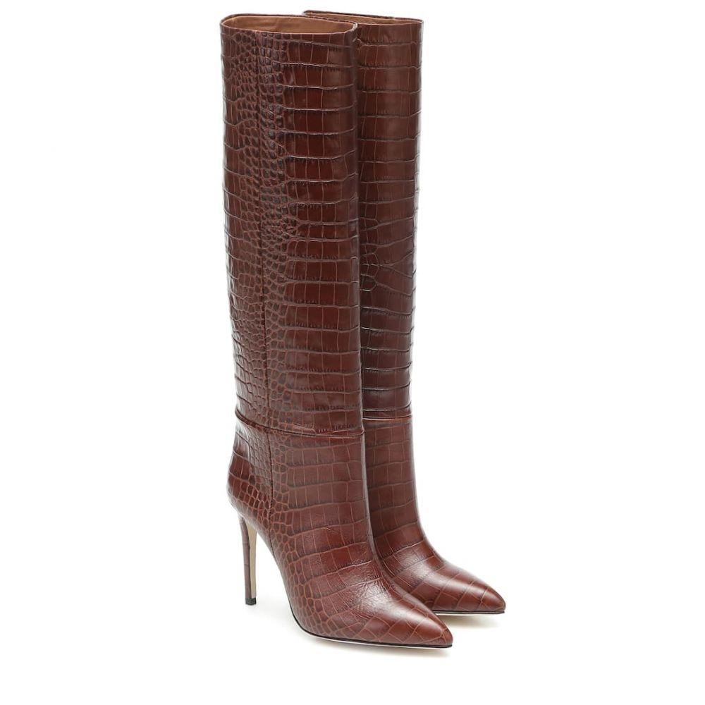 パリ テキサス Paris Texas レディース ブーツ シューズ・靴【Croc-effect leather knee-high boots】Marrone