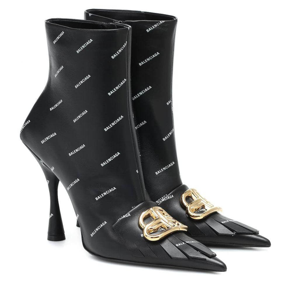 バレンシアガ Balenciaga レディース ブーツ ショートブーツ シューズ・靴【Fringe Knife BB leather ankle boots】Black/White/Gold