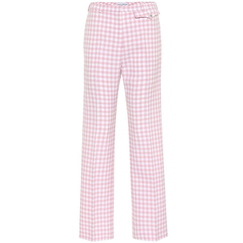 パコラバンヌ Paco Rabanne レディース ボトムス・パンツ 【Checked high-rise straight pants】Pink Vichy